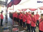 Suasana apel saat Rakerda PDI Perjuangan di Gunung Kidul.